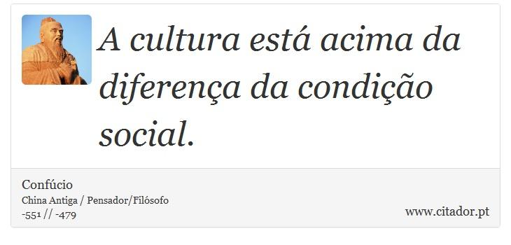 A Cultura Está Acima Da Diferença Da Condição Confúcio Frases