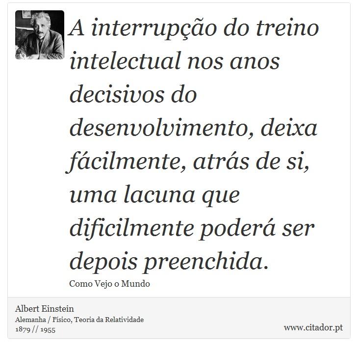 A Interrupção Do Treino Intelectual Nos Anos D Albert