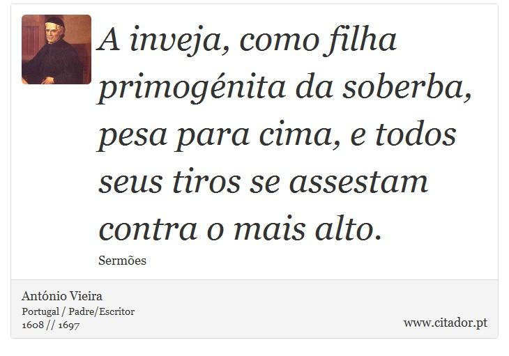 A Inveja Como Filha Primogénita Da Soberba P António Vieira