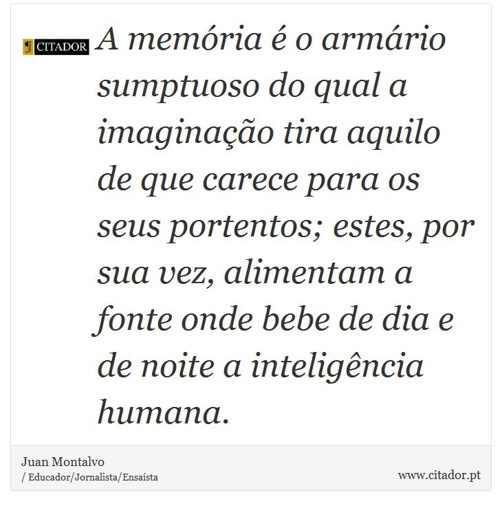 A memória é o armário sumptuoso do qual a imaginação tira aquilo de que carece para os seus portentos; estes, por sua vez, alimentam a fonte onde bebe de dia e de noite a inteligência humana. - Juan Montalvo - Frases