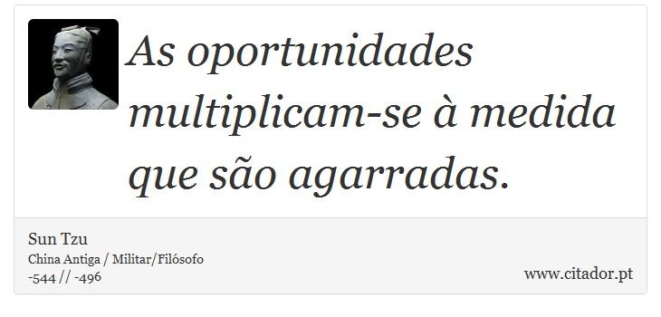 As oportunidades multiplicam-se à medida que são agarradas. - Sun Tzu - Frases