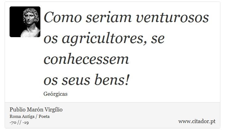 Como seriam venturosos os agricultores, se conhecessem <br />  os seus bens! - Publio Marón Virgílio - Frases