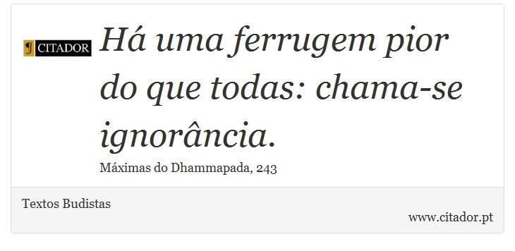 Há uma ferrugem pior do que todas: chama-se ignorância. - Textos Budistas - Frases