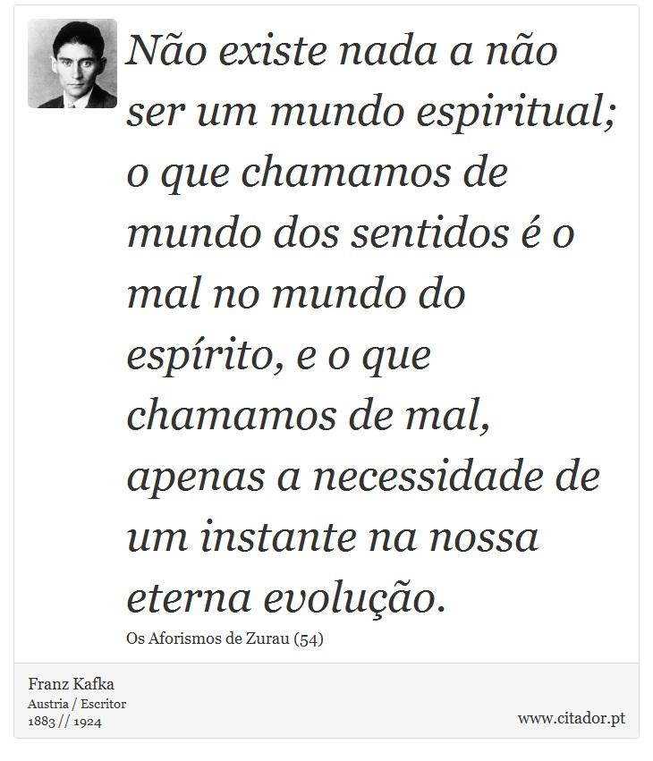 Preferência Não existe nada a não ser um mundo espiritual; - Franz Kafka  II73