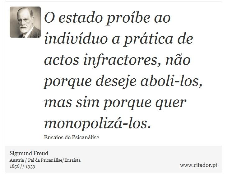 O estado proíbe ao indivíduo a prática de actos infractores, não porque deseje aboli-los, mas sim porque quer monopolizá-los. - Sigmund Freud - Frases