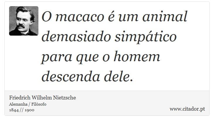 O macaco é um animal demasiado simpático para que o homem descenda dele. - Friedrich Wilhelm Nietzsche - Frases