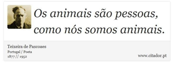 Os animais são pessoas, como nós somos animais. - Teixeira de Pascoaes - Frases