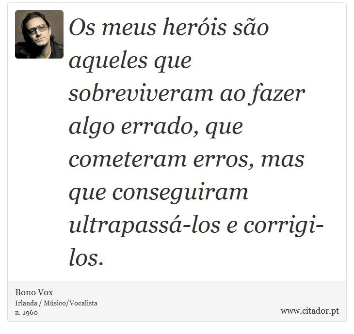 Os meus heróis são aqueles que sobreviveram ao fazer algo errado, que cometeram erros, mas que conseguiram ultrapassá-los e corrigi-los. - Bono Vox - Frases