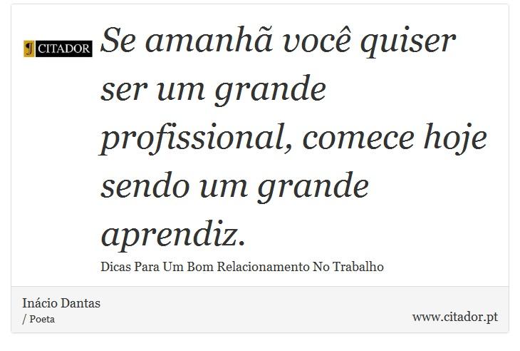 Se amanhã você quiser ser um grande profissional, comece hoje sendo um grande aprendiz. - Inácio Dantas - Frases