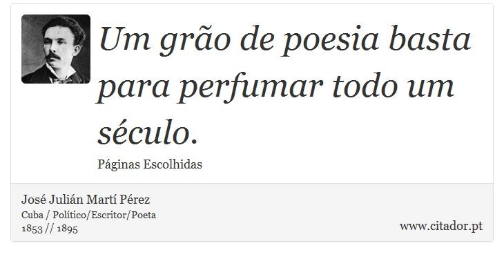 Um grão de poesia basta para perfumar todo um século. - José Julián Martí Pérez - Frases