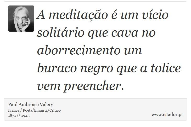 A meditação é um vício solitário que cava no aborrecimento um buraco negro que a tolice vem preencher. - Paul Ambroise Valery - Frases
