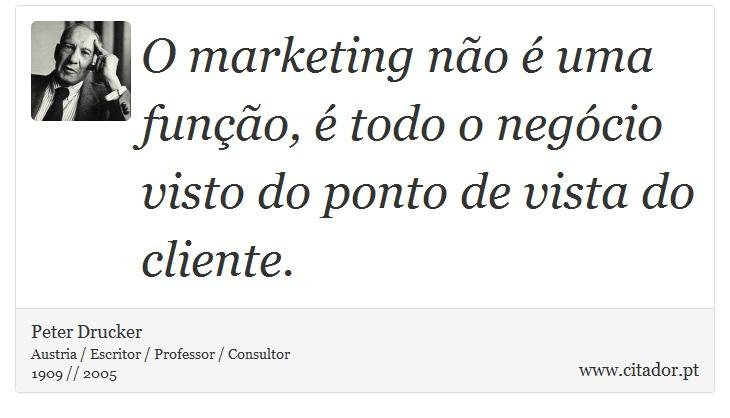 O marketing não é uma função, é todo o negócio visto do ponto de vista do cliente. - Peter Drucker - Frases
