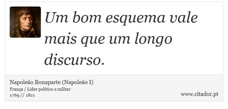 Um bom esquema vale mais que um longo discurso. - Napoleão Bonaparte (Napoleão I) - Frases