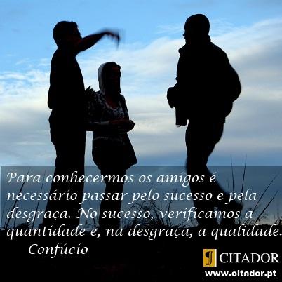 Conhecer os Amigos - Confúcio : Para conhecermos os amigos é necessário passar pelo sucesso e pela desgraça. No sucesso, verificamos a quantidade e, na desgraça, a qualidade.