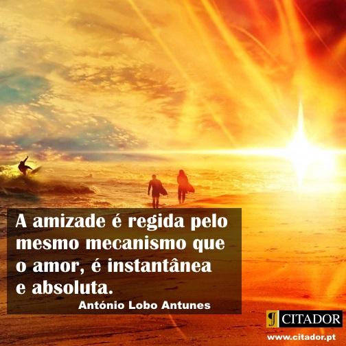 O Mecanismo da Amizade - António Lobo Antunes : A amizade é regida pelo mesmo mecanismo que o amor, é instantânea e absoluta.