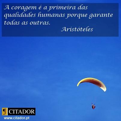A Coragem é a Primeira das Qualidades - Aristóteles : A coragem é a primeira das qualidades humanas porque garante todas as outras.