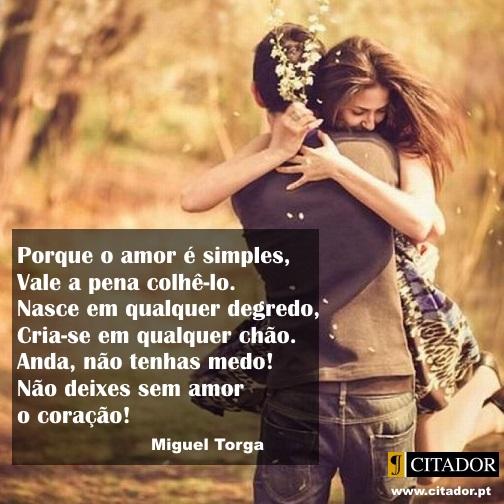 O Amor é Simples - Miguel Torga : Porque o amor é simples,/Vale a pena colhê-lo./Nasce em qualquer degredo,/Cria-se em qualquer chão./Anda, não tenhas medo!/Não deixes sem amor o coração!