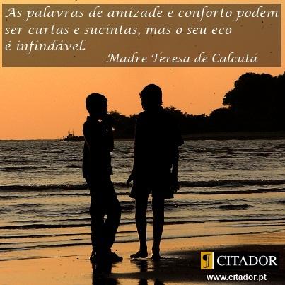 As Palavras de Amizade - Madre Teresa de Calcutá : As palavras de amizade e conforto podem ser curtas e sucintas, mas o seu eco é infindável.