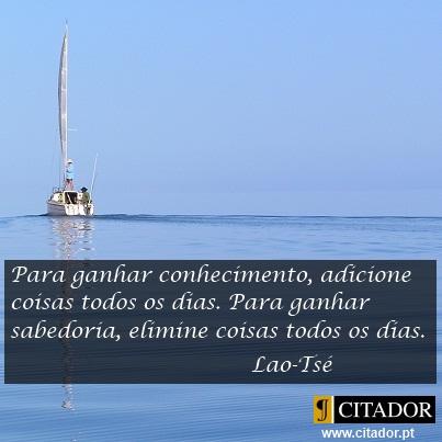 Ganhar Sabedoria - Lao-Tsé : Para ganhar conhecimento, adicione coisas todos os dias. Para ganhar sabedoria, elimine coisas todos os dias.