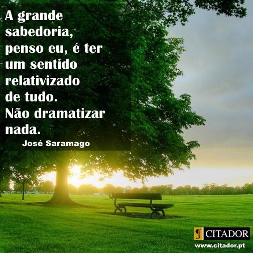 A Grande Sabedoria - José Saramago : A grande sabedoria, penso eu, é ter um sentido relativizado de tudo. Não dramatizar nada.