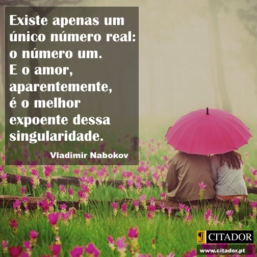 O Amor é o Número Um - Vladimir Nabokov : Existe apenas um único número real: o número um. E o amor, aparentemente, é o melhor expoente dessa singularidade.