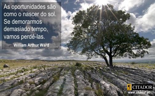Aproveitar as Oportunidades - William Arthur Ward : As oportunidades são como o nascer do sol. Se demorarmos demasiado tempo, vamos perdê-las.